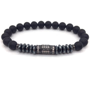 Prismatic Hematite Bracelet - Pave Column with Losange Matte Onxy Bead Charm Bracelets for Mens - Ritzy Jewelry