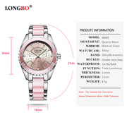 Classy Luxury Quartz LongBo - Ceramic Alloy Analog Bracelet Wristwatch for Women - Ritzy Jewelry