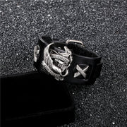 Virile Genuine Leather Eagle Punk Rider Style Bangles Bracelets for Men's by Ritzy - Ritzy Jewelry