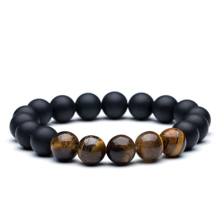 Lustrous Lava Natural Stone Bracelet - Charm Tiger Eye Bangle Beads Bracelet for Mens - Ritzy Jewelry