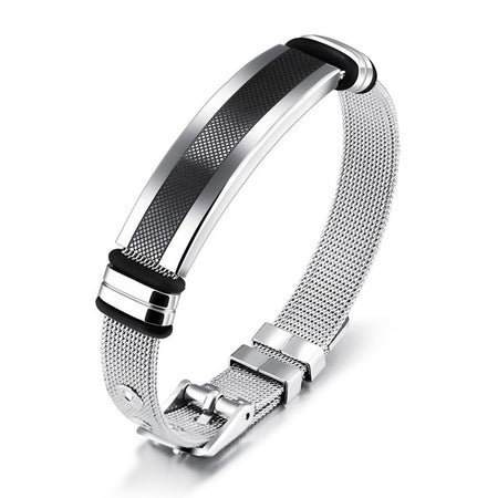 Valorous Stainless Steel Refined Mesh Strap Band Bracelet for Men's by Ritzy - Ritzy Jewelry