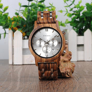 Bobo Wooden Quartz Watch - Luxury Luminous Hands SS Band Wood Stop Watch for Mens - Ritzy Jewelry