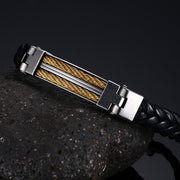 Distinctive Black Leather Stainless Steel Wire Punk Bangle Bracelet For Mens - Ritzy Jewelry
