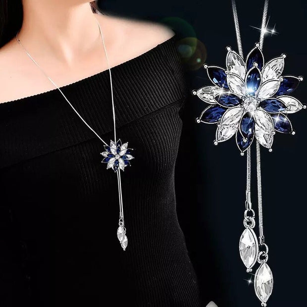 Trendy Zircon Snowflake Necklace - Cubic Beaded Flower Necklace For Women - Ritzy Jewelry