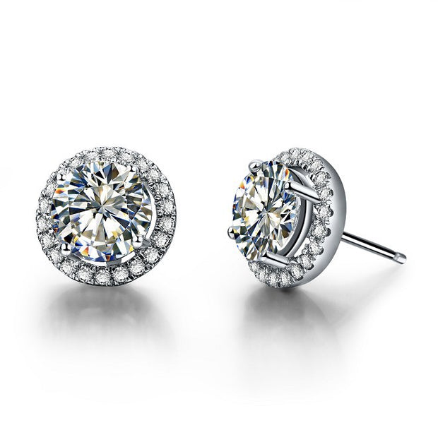 Grandeur Luxury 0.5CT/Piece White Gold Synthetic Halo Stud Earrings for Women - Ritzy Jewelry