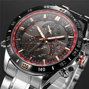 Striking Curren Quartz Watch - Analog Display Stainless Steel Luxury Watch for Mens - Ritzy Jewelry