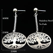 Lightweight Silver Color Round Stainless Steel Long Stud Earrings for Women Tree of Life Earrings For Women by Ritzy - Ritzy Jewelry