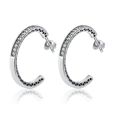 Beauteous Stylish Stud Earring - Genuine Silver Radiant Hearts Earrings For Women - Ritzy Jewelry
