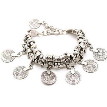 Ethnic Cheap Bangle Bohemian Vintage Turkish Silver Antalya Gypsy Coin Bracelet For Women - Ritzy Jewelry