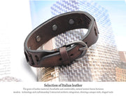 Optimum Cuff Leather Bracelet - Italian Genuine Leather Cuff Vintage Bracelets for Mens by Ritzy - Ritzy Jewelry