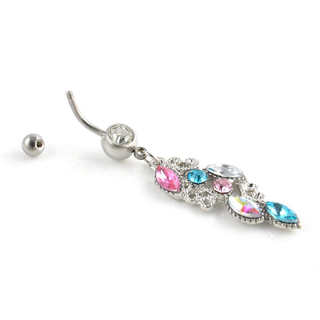 Debonair Rhinestone Crystal Belly Button Dangle Ring for Women by Ritzy - Ritzy Jewelry