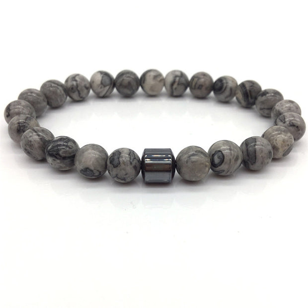 Classic Strand Onxy Bracelet - Earth Stone White Stone Bead Bracelets for Mens - Ritzy Jewelry