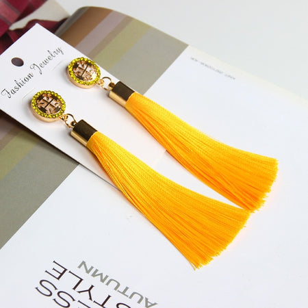 Marvelous Bohemian Crystal Silk Fabric Tassel Long Drop Dangle Tassel Earrings For Women - Ritzy Jewelry