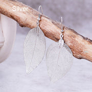 Rare Natural Bohemian Real Leaf Long Earrings Unique for Women by Ritzy - Ritzy Jewelry
