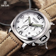 Robust Megir Casual Quartz Watch - Fashion Lumimous Miliary Analog Chronograph Wristwatches For Mens - Ritzy Jewelry