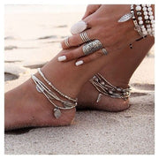Magnificent Bohemia Vintage Silver Charm Leaves Set Beaded Bracelet For Women by Ritzy - Ritzy Jewelry