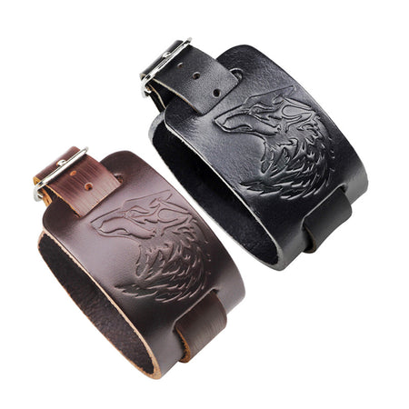 Courageous Viking Genuine Leather Wolf Head Gothic Wristband Bracelet for Mens - Ritzy Jewelry