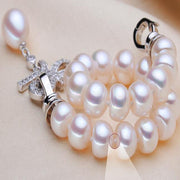 Luxurious Freshwater Pearl Bracelet - S925 Sterling Silver Button Bracelets With Rice Pendant For Women - Ritzy Jewelry