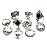 Decorative Antique Finger Rings - Bohemia Heart Crown Carved Silver Knuckle Rings For Women - Ritzy Jewelry