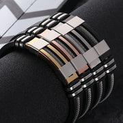 Gallant Stainless Steel Bracelet - Exquisite Silicone Black High Quality Bracelet for Mens - Ritzy Jewelry