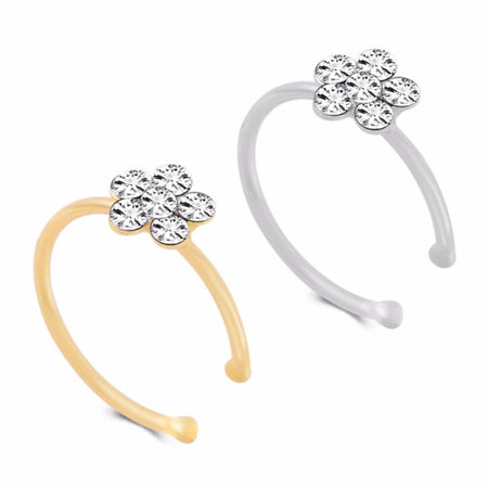 Flowery Crystal Nose Ring - Septum Hoop Stud Flower Clicker Piercing Nose Clip Rings Women Girls - Ritzy Jewelry