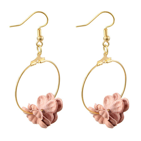 Lovely Fabric Colorful Flower Petal Circle Big Fancy Drop Earrings for Women - Ritzy Jewelry