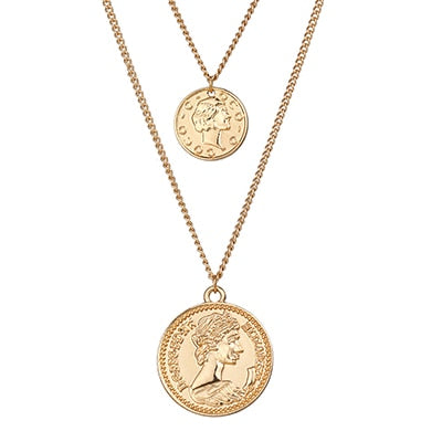 Treasured Vintage Retro Round Portrait Coin - Pendant Necklace Statement Charm Ethnic multilaye Necklace For Women - Ritzy Jewelry