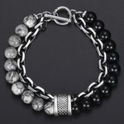 Trendsetting Natural Stone Bracelet - Stainless Steel Beaded Bracelets for Mens - Ritzy Jewelry