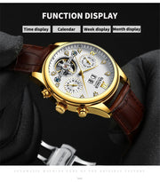 Masterful HAIQIN Business Watch - Chronograp Automatic Mechanical Full steel Waterproof Wind Tourbillon Clock Watch for Mens - Ritzy Jewelry