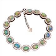 Persuading Classic Silver Opal Natural Opal Gemstone Solid Bracelet for Women by Ritzy - Ritzy Jewelry