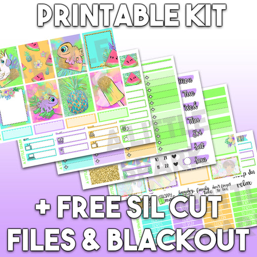 EC PRINTABLE: Stripes 3 Page Kit / Silhouette Cut Files / Blackout PNG File