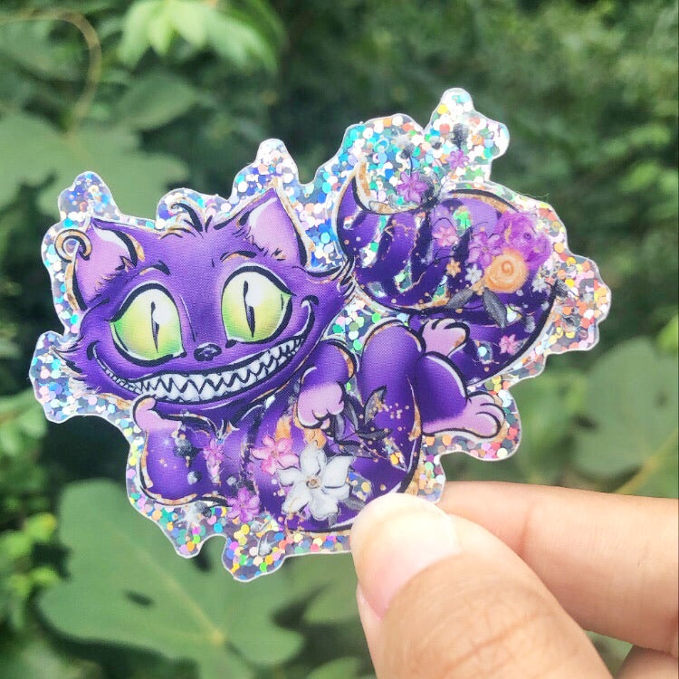 Holo Glitter: Happy Cat Die Cut Sticker