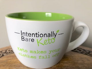 Keto Mug - White  with Lime - 'Keto makes your clothes fall off'