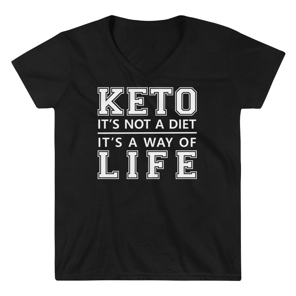 Women's Casual V-Neck Shirt - Keto is a way of life