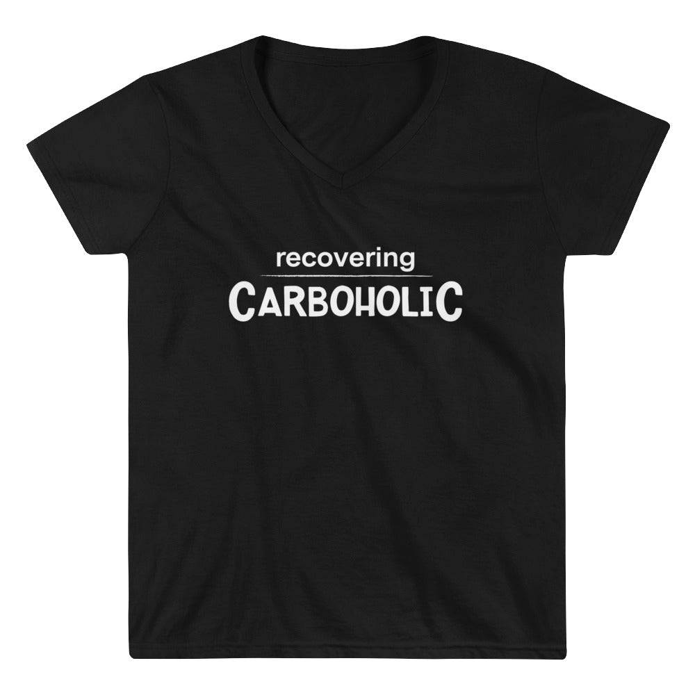 Women's Casual V-Neck Shirt - Recovering Carboholic