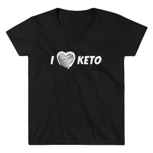 Women's Casual V-Neck Shirt - I Love Keto