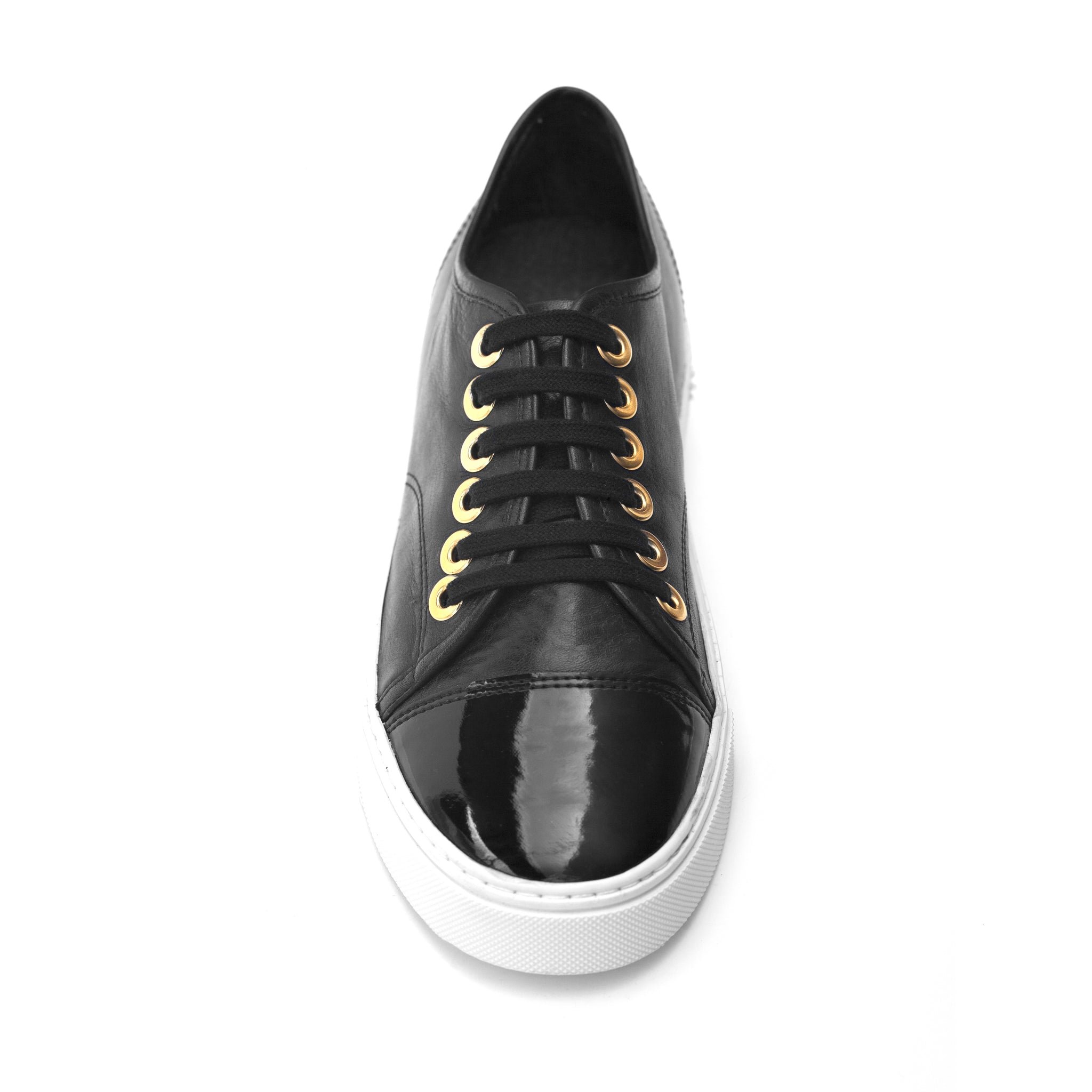 e7b20bb503 Black Leather Sneaker With Parent Leather Toe - Allysa Payne Beverly Hills