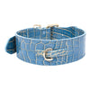 Blue/Gold Stamped Leather Faux Croc Collar