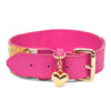 Fuchsia Floral Leather Collar With A Custom Gold Heart