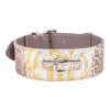 Silver and Gold Stamped Leather Croc Collar with Silver Buckle