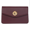 Bordeaux Leather Clutch  With Custom Swarovski Stone