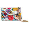 Floral Leather Clutch With Custom Swarovski Stone