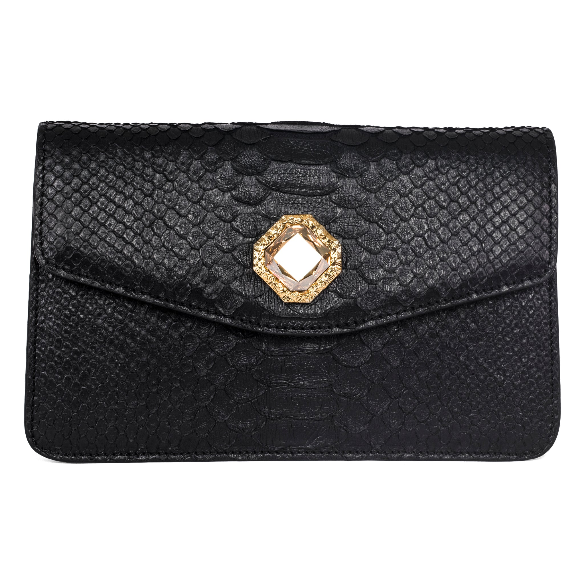 9e8a1345983 Black Python Clutch with Custom Swarovski Stone