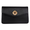 Black Leather Clutch With Custom Swarovski Stone