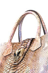 Iridescent Python Bag with Snake Head Accessory