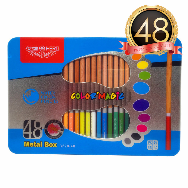 HERO Watercolor Pencils Set of 48 With Blue Tin Case - For Sketch Coloring Pages And Books