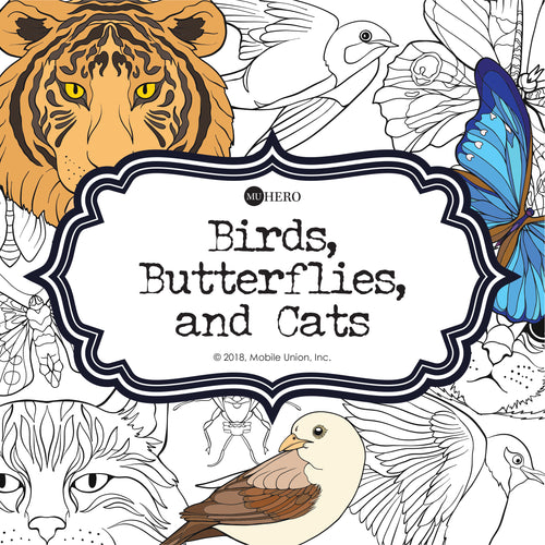 Coloring Book: Birds, Butterflies, and Cats