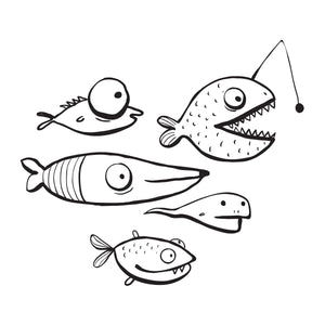 Coloring Book: Cartoon Fish