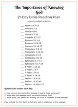 Importance of Knowing God Bible Reading Plan Journal (Digital)