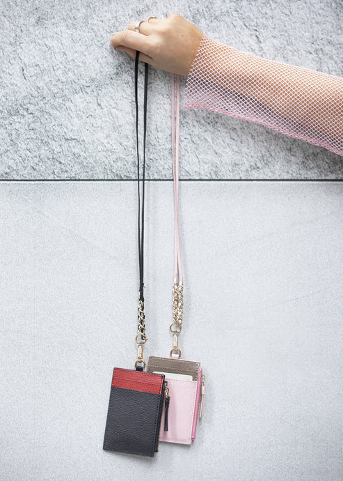 Black & Ruby Chain Leather Cardholder